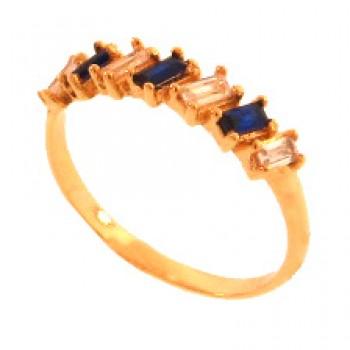 Anel meia alianca 7 baguetes intercalado azul safira e cristal. 140028
