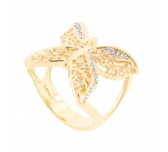Anel borboleta zirconia cristal vazada nas laterais. 140852