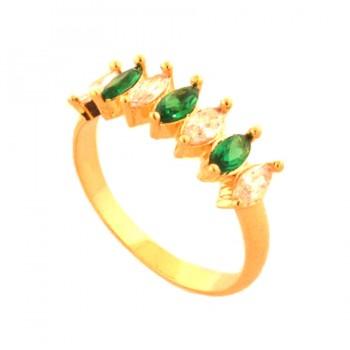 Anel 7 navetes intercalados cristal e verde. 141051