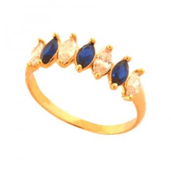Anel 7 navetes intercalados cristal e azul. 141052