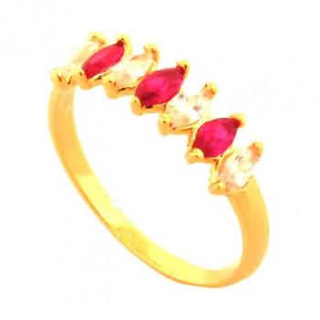 Anel 7 navetes intercalados cristal e vermelho. 141059