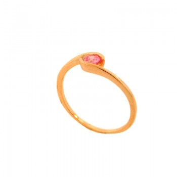 Anel solitario movimento zirconia rosa claro. 141081