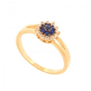 Anel flor zirconia azul safira no centro e cristal em volta. 141099