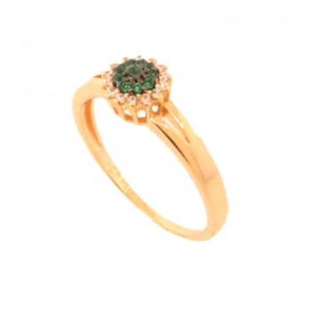 Anel flor zirconia verde esmeralda no centro e cristal em volta. 141100