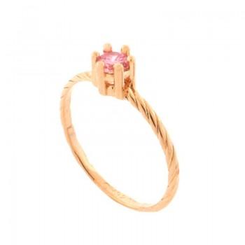 Anel solitario zirconia rosa aro torcido. 141186