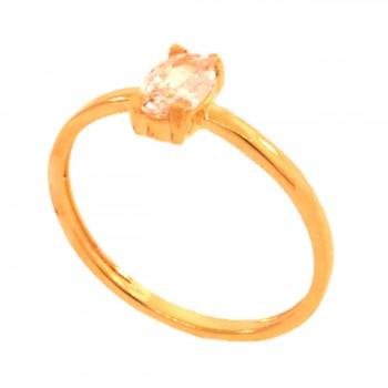 Anel solitario oval zirconia cristal. 141402