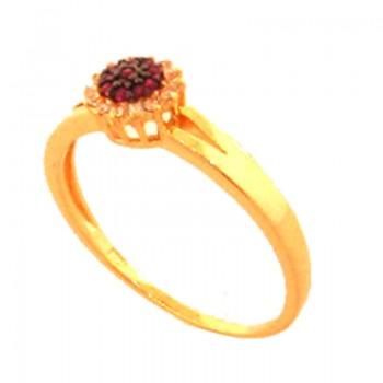 Anel flor zirconia vermelho rubi no centro e cristal em volta. 141408