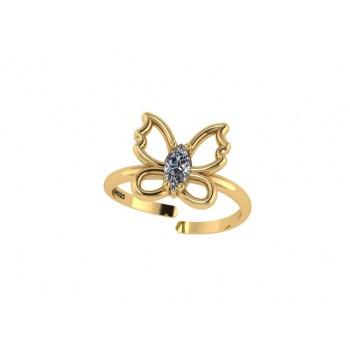 Anel infantil borboleta lisa com navete cristal no centro. 141428