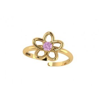 Anel infantil flor 5 petalas lisa com miolo zirconia rosa. 141431