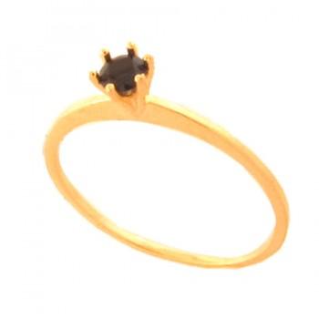 Anel solitario zirconia negra 3,5mm. 141449
