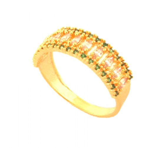 Anel meia alianca zirconia verde esmeralda e navete cristal. 141482