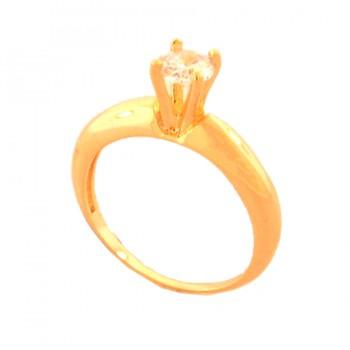Anel solitario zirconia cristal 5mm, aro liso. 141492