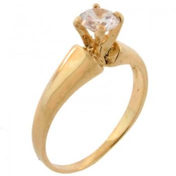 Anel solitario zirconia cristal aro liso. 140073