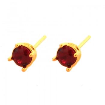 Brinco segundo furo redondo zirconia vermelha 5mm. 150066