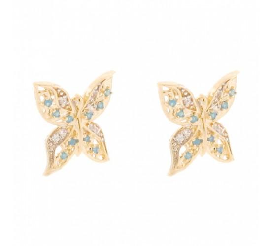 Brinco borboleta zirconia cristal e azul turquesa. 150989