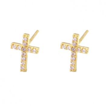 Brinco pequeno cruz zirconia cristal. 151020