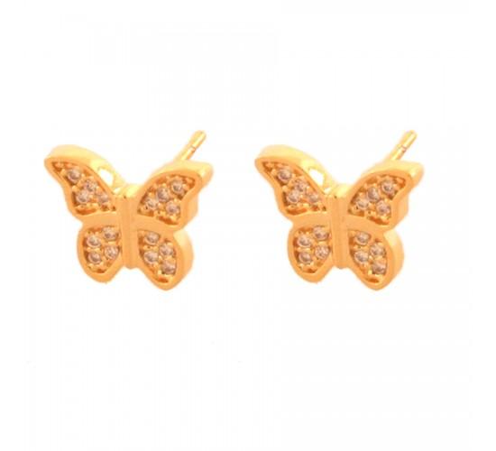 Brinco borboleta zirconia cristal. 151039