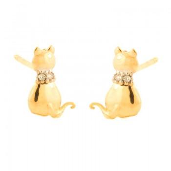 Brinco gato com coleira zirconia cristal. 151430
