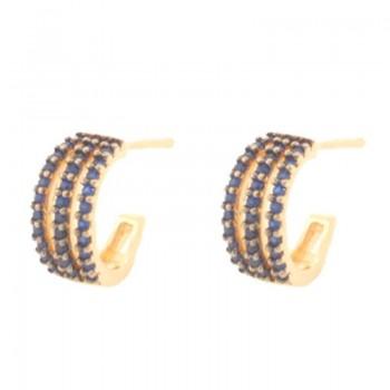 Brinco meia argola media 3 fios zirconia azul safira. 151570