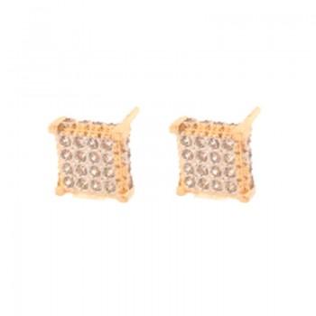 Brinco chuveiro quadrado pequeno zirconia cristal. 151573