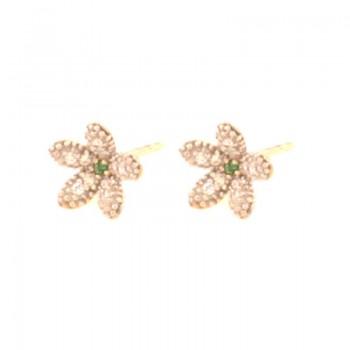 Brinco flor pequena miolo zirconia verde, petalas zirconia cristal. 151603