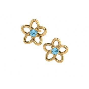 Brinco infantil flor 5 petalas lisa com miolo zirconia azul claro. 151674