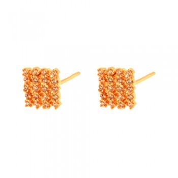 Brinco chuveiro quadrado pequeno zirconia cristal. 151689