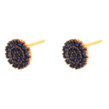 Brinco pave redondo pequeno zirconia azul safira. 151714