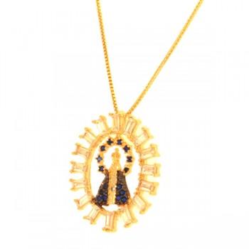 Colar aro oval baguete cristal com Nossa Senhora Aparecida manto zirconia azul. 160022