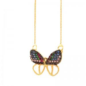 Colar borboleta com asas zirconia azul lilas verde  em cima e asas vazadas embaixo. 160070