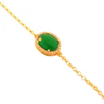 Pulseira com pedra oval verde esmeralda. 160076