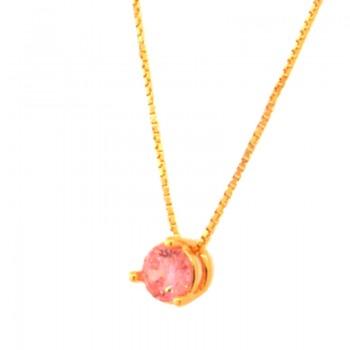 Colar ponto de luz redondo zirconia rosa 5mm. 160084