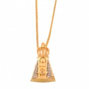 Colar Nossa Senhora Aparecida pequena com manto zirconia cristal. 160712