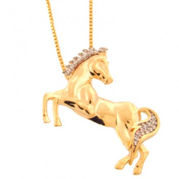 Colar cavalo liso olhando para tras com crina e rabo zirconia cristal. 160804
