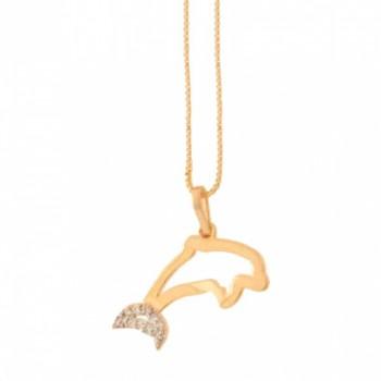 Colar golfinho vazado liso, calda com zirconia cristal. 160864