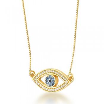 Colar olho grego zirconia azul claro com zirconia cristal em volta. 160947