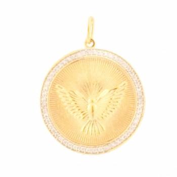 Medalha divino com zirconia cristal em volta. 160993
