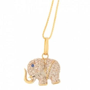 Colar elefante pequeno zirconia cristal com olho zirconia azul. 161021