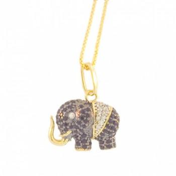 Colar elefante pequeno zirconia negra com olho zirconia cristal. 161022