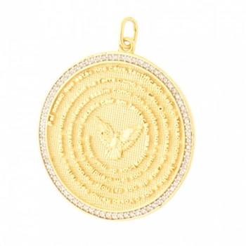 Medalha pai nosso com zirconia cristal em volta. 161025