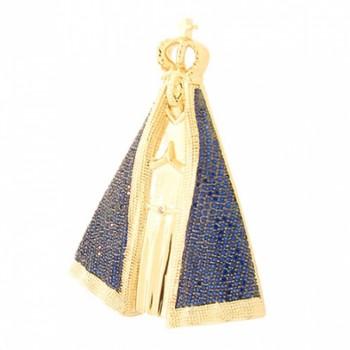 Pingente Nossa Senhora Aparecida grande com manto zirconia azul. 161026