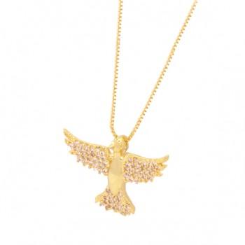 Colar divino liso com asas e rabo zirconia cristal. 161051