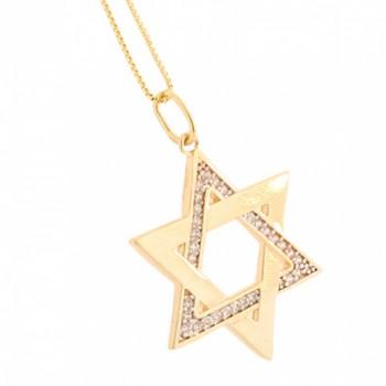 Colar estrela de davi metade zirconia cristal e metade lisa. 161078