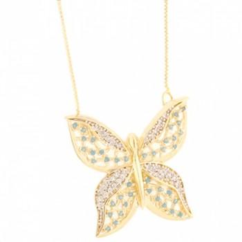 Colar borboleta zirconia cristal e azul turquesa. 161108