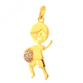 Pingente menino com bola zirconia cristal. 161123