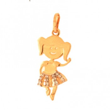 Pingente menina bailarina com saia zirconia cristal. 161175