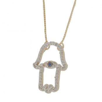 Colar mao de fatima vazada zirconia cristal com zirconia azul no centro. 161238