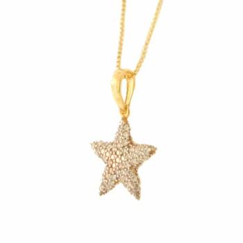 Colar estrela do mar zirconia cristal. 161279