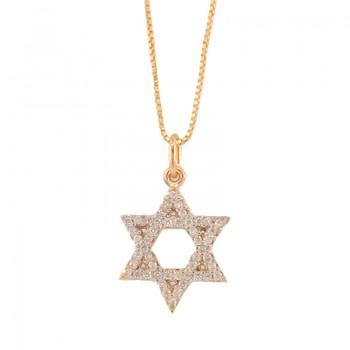 Colar estrela de davi zirconia cristal. 161336