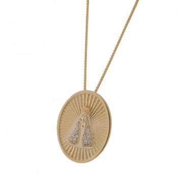 Colar medalha Nossa Senhora Aparecida manto zirconia cristal, oval com detalhes dentro. 161461